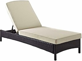 Crosley Furniture Palm Harbor Outdoor Wicker Chaise Lounge with Sand Cus... - $314.14