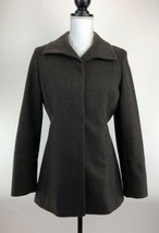 Express Coat Womens 3/4 Brown Wool Button Down Long Sleeves Lined A76-09 - $19.28