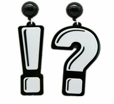 New Acrylic Question & Exclamation Mark Drop Earrings For Women Long Dan... - $9.89