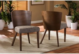 Baxton Studio Sparrow Brown Wood And Khaki Fabric Modern Dining Chairs ... - $406.89