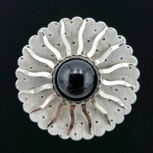 Sarah Coventry Silver Sunburst Black Lucite Brooch Pin - $27.72