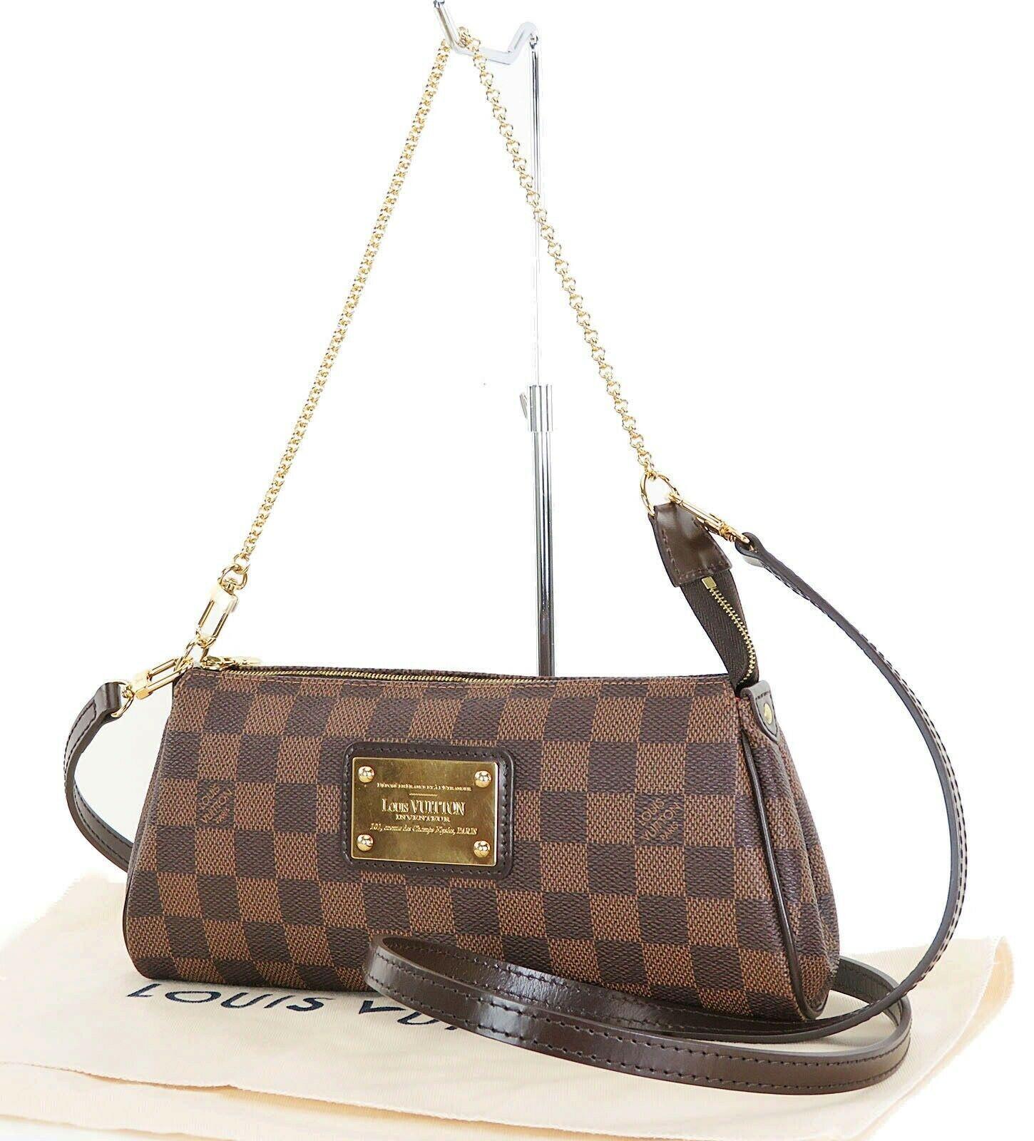 Authentic Louis Vuitton Eva Damier Ebene Chain Clutch Shoulder Hand Bag #32496
