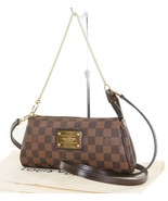 Authentic Louis Vuitton Eva Damier Ebene Chain Clutch Shoulder Hand Bag ... - $1,250.00