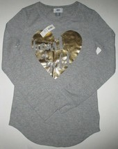 New Girls Size XL (14) Old Navy Gray Heart of Gold Longsleeve Shirt Top - $6.47