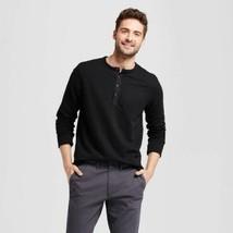 Mens Long  Sleeve Henley Black Tall SizeX LT Goodfellow & Co NWT - $10.39