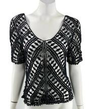 Love Stitch Top Small Black Lace Open Knit V Neck Boho Half Sleeve Shirt... - $19.80