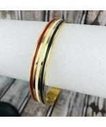 Vintage Avon Nautical Bangle Bracelet Red White Blue Patriotic Gold Tone - $22.76