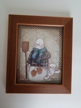 Snowman & Rabbit Framed Picture Matted 10 x 12; Holiday Hare Pat Fischer - $13.85
