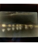 Vtg Magic Lantern Glass Slide Photo Brazil Rio Botafogo Bay At Night - $14.20