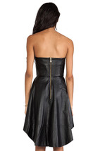 New Women's Genuine Lambskin Black Leather Sleeveless Party Wear Vintage Dress image 2