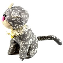 Delton Gray Floral Fabric Kitty Cat Jingle Bell Small Door Stopper Doorstop image 2