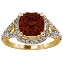 2.00 Ct Cushion Cut Red Garnet 18K Yellow Gold Fn Solitaire Halo Engagem... - $75.00