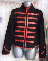 Striking stagewear/ punk/ military jacket, mens, Large, black/red , braided.; - $77.24