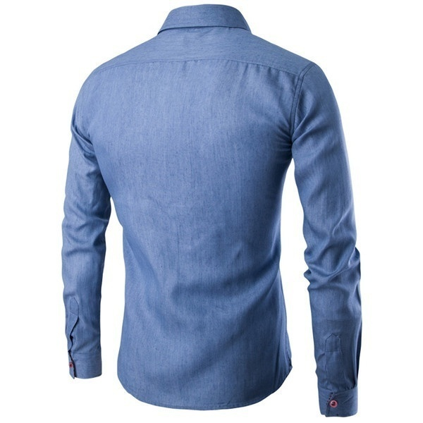 2018 New Fashion Spell Leather Men Cotton Denim Shirts Casual Long Sleeve Men's