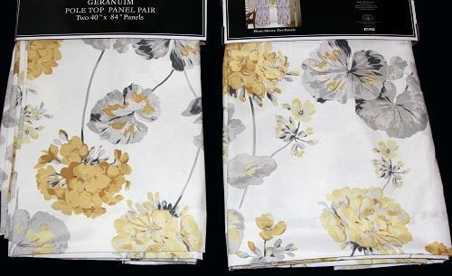 2 Laura Ashley GERANIUM Yellow Gold Grey Pole Top Window Panels 40 x 84 EA NWT - $59.99
