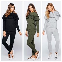 Women 2pcs Casual Ruffle Sweats Sweatshirt and Solid Pants Tracksuit Spo... - $37.74