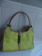Authentic Gucci Neon Green Logo Canvas w/Beige Leather Small size should... - $79.99