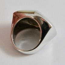 Silver Ring 925 Rhodium to Fscia with Nacre White and Enamel Black image 6