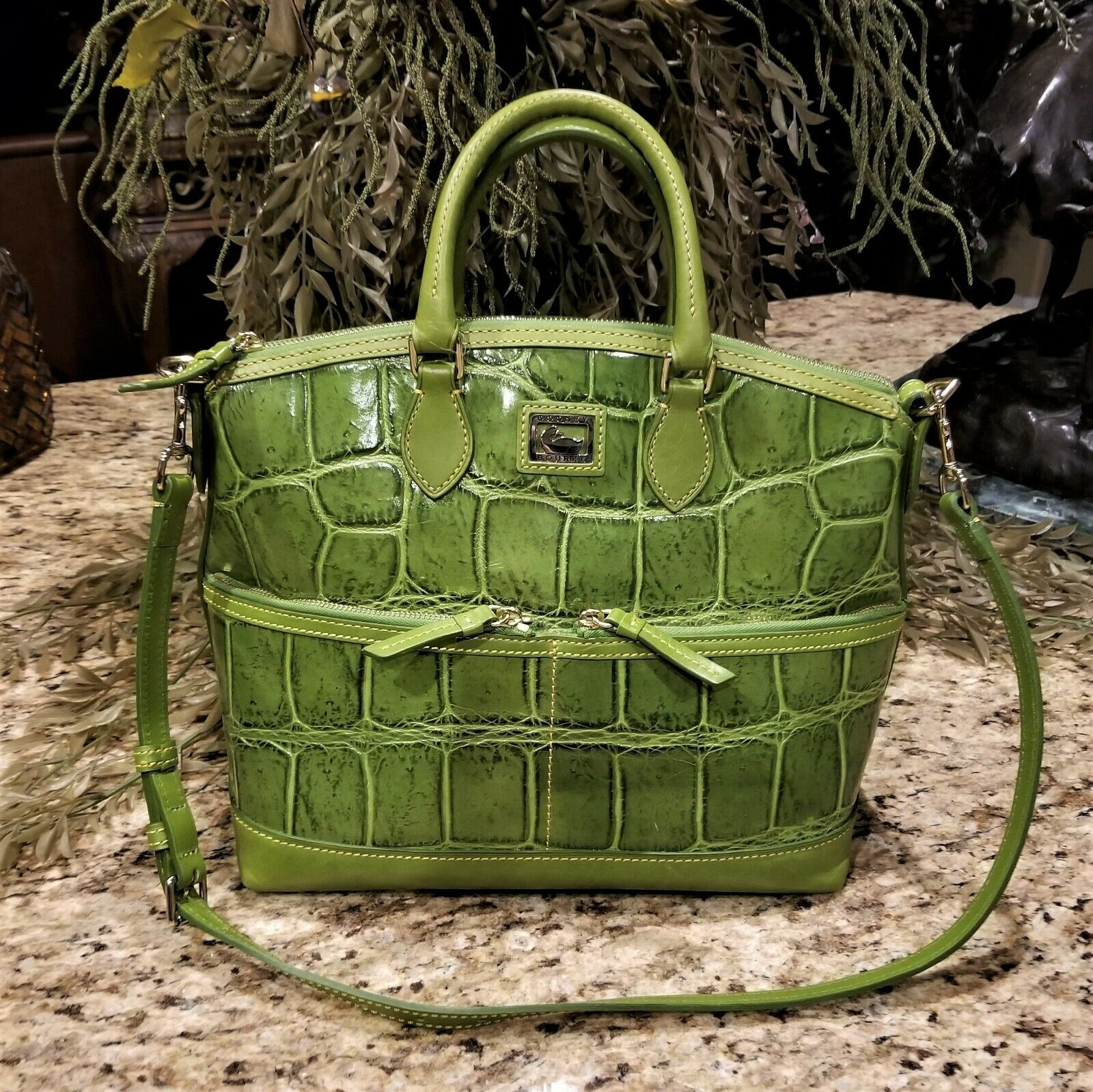 Large DOONEY & BOURKE Apple Green Embossed Croc Leather Satchel Crossbody