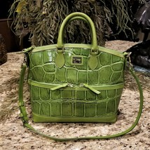 Large DOONEY & BOURKE Apple Green Embossed Croc Leather Satchel Crossbody  image 1