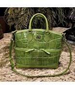 Large DOONEY & BOURKE Apple Green Embossed Croc Leather Satchel Crossbody  - $129.95