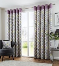 FULLY LINED 100% COTTON PURPLE GREEN CREAM EYELET RING TOP CURTAINS 8 SIZES - $28.77+