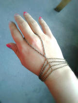 Slave Bracelet Caged Hand Chain Antique Brass Hand Chain Bohemian Slave ... - $48.00