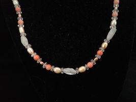 "19-20"" Necklace, Rose Quartz, Peachy Coral, Freshwater Pearl, Crystal, Handmade - $20.00"