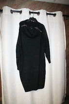 NEW WOMENS PLUS SIZE 3X BLACK LONG SWEATER DRESS WITH ZIP DOWN COWL NECK... - $21.28