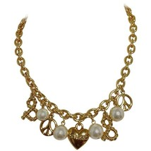 MINT. Vintage Moschino chain statement necklace with golden heart, peace motifs - $212.00