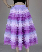 Hot Pink Purple Gray Purple Women Tier Tulle Skirts Mesh Skirt Full Midi Skirts image 7