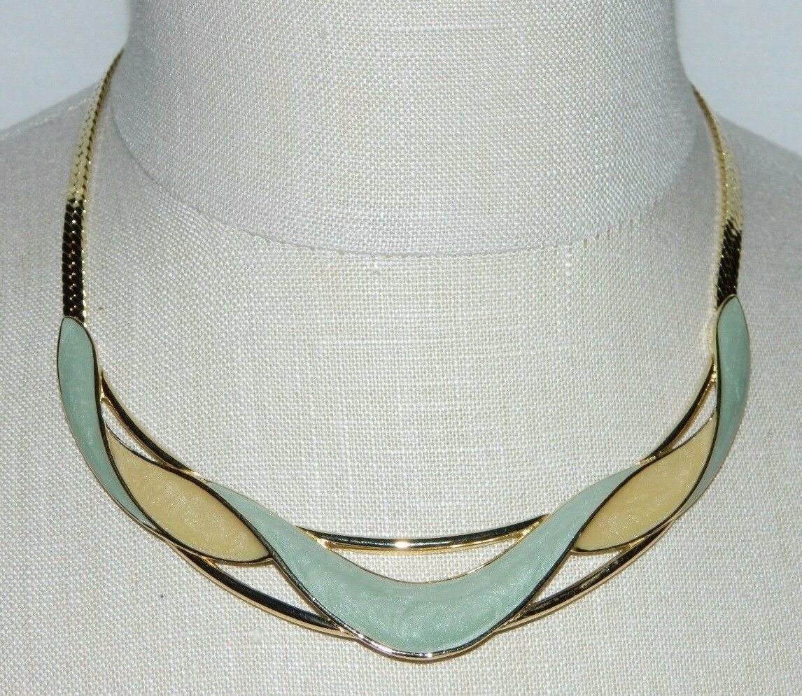 Primary image for VTG TRIFARI Modernist Abstract Gold Tone Green Cream Colored Enamel Choker NWT