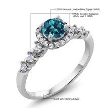 0.97 Ct Round Natural London Blue Topaz White Topaz 925 Sterling Silver ... - $89.98
