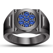14k Black Gold Plated 925 Silver Round Cut Blue Sapphire Men's Engagement Band - $90.99