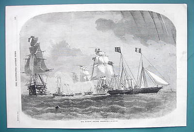 Primary image for 1858 Woodcut Engraving - QUEEN VICTORIA'S Fleet Leaving Cherbourg