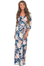 Slate Blue Floral Print Wrapped Long Boho Dress - $17.20