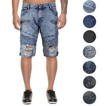 LR Scoop Men's Moto Quilted Distressed Painted Skinny Slim Fit Jean Denim Shorts