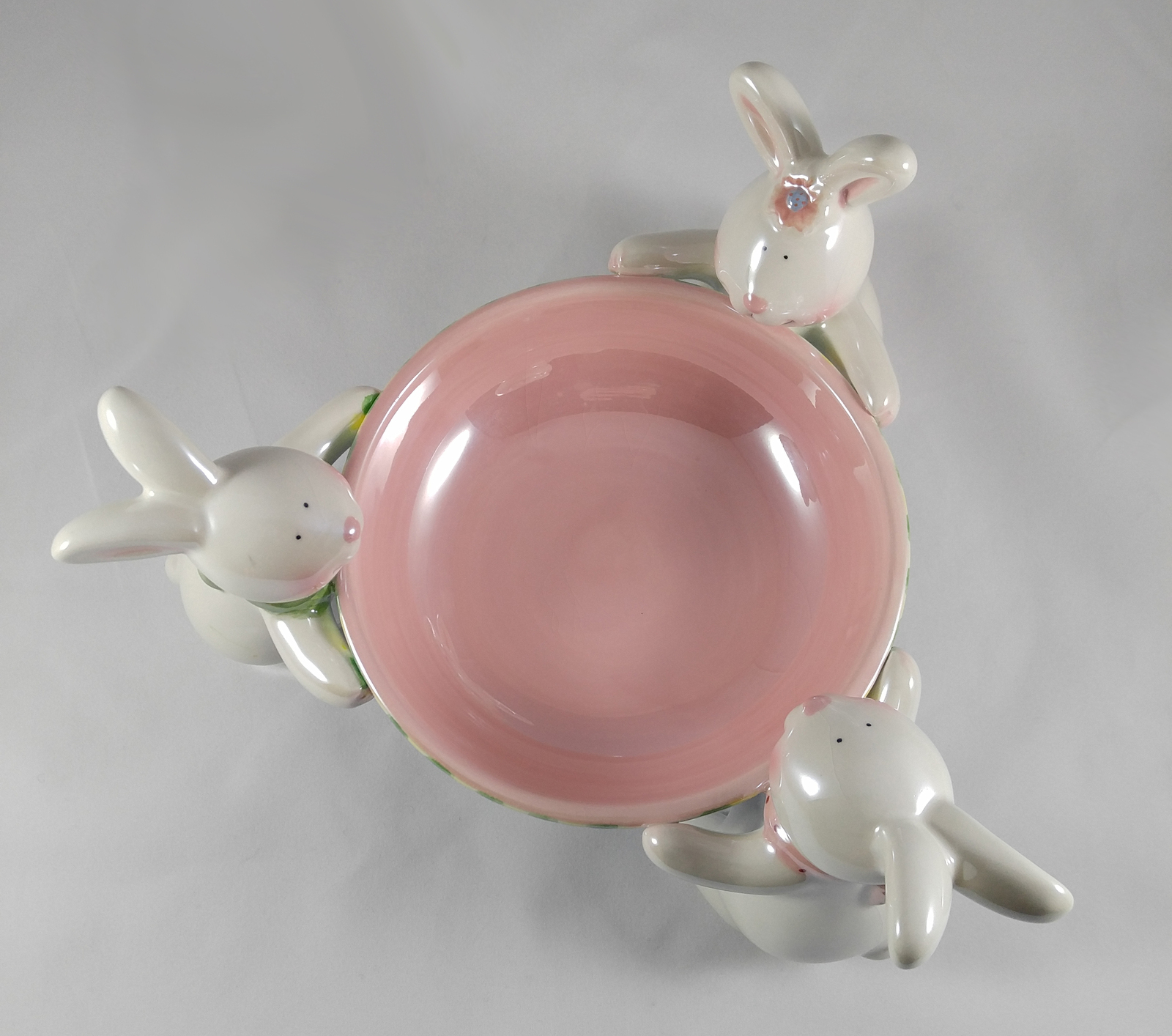 Rare Vintage Signed Lillian Vernon Easter Ceramic Bunnies Candy Dish