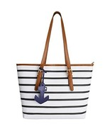 Summer Bag Tote Beach Shoulder Handbag Stripes PU Leather Purse Women Fa... - $30.36 CAD