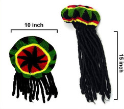 REGGAE KNITTED HAT W DREAD LOCKS hair hats costumes knit mens womens fak... - £6.99 GBP