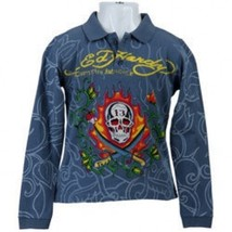 NWT Ed Hardy Kids Boys Polo T-Shirt Long Sleeve Blue Size 4 - $18.80