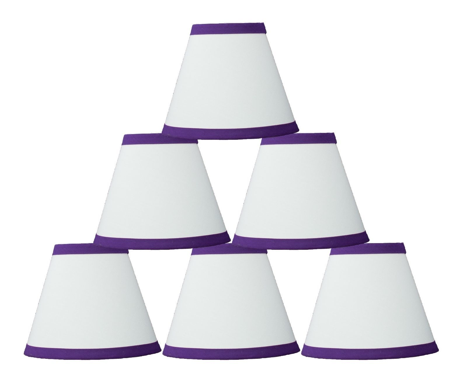 "Urbanest Chandelier Mini Lamp Shades,5/"",Bell Silk,White w// Double Trim,Set of 2"