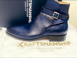 Handmade Men's Blue High Ankle Monk Strap Leather Boot image 2