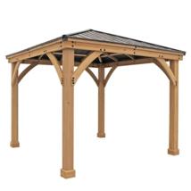 PATIO CANOPY GAZEBO 10x 10Ft Solid Wood Base Aluminum Top Outdoor Garden... - $2,599.00