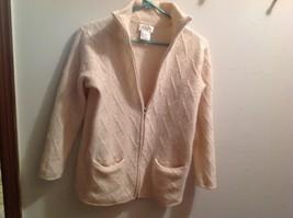 Beautiful Talbots Cream Wool Zip Front Cardigan Sweater Jacket Size M - $18.99