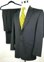 Chaps Mens Two Button Suit Size 42L 36 x 31 Gray Pinstripes 100% Wool - $55.40