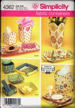 Uncut Shirley Botsford Fabric Container Vase Tray Simplicity 4362 Sewing Pattern - $6.99