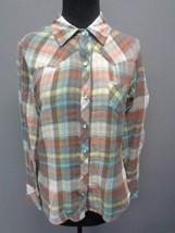 SPLENDID Orange Blue Gray Yellow Cotton Plaid Button Down Shirt Size M S... - $29.69