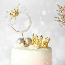 Birthday Party Cake Topper Romantic Pearl Crown Iron Princess Theme Part... - $15.00
