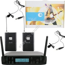 MICWL UHF 2 Lavalier Lapel Microphone Wireless Two Channel Frequency Per... - $131.27